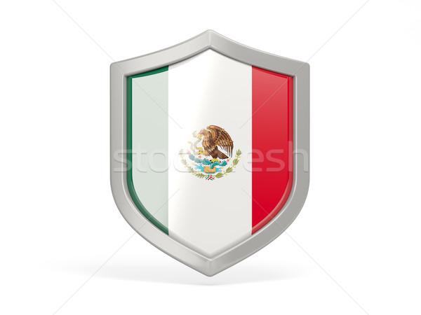 Tarcza ikona banderą Meksyk odizolowany biały Zdjęcia stock © MikhailMishchenko