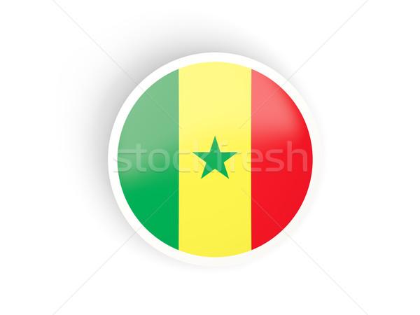 Vignette pavillon Sénégal isolé blanche Voyage Photo stock © MikhailMishchenko
