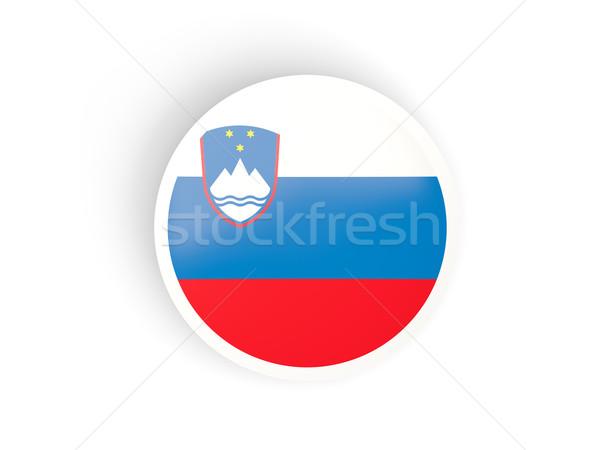 Adesivo bandiera Slovenia isolato bianco viaggio Foto d'archivio © MikhailMishchenko