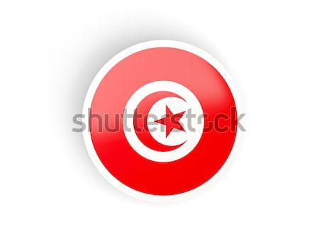 ステッカー フラグ チュニジア 孤立した 白 旅行 ストックフォト © MikhailMishchenko