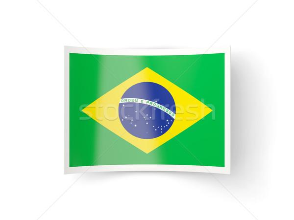 Bent icon with flag of brazil Stock photo © MikhailMishchenko
