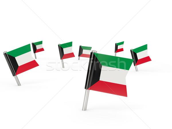 Praça bandeira Kuweit isolado branco país Foto stock © MikhailMishchenko