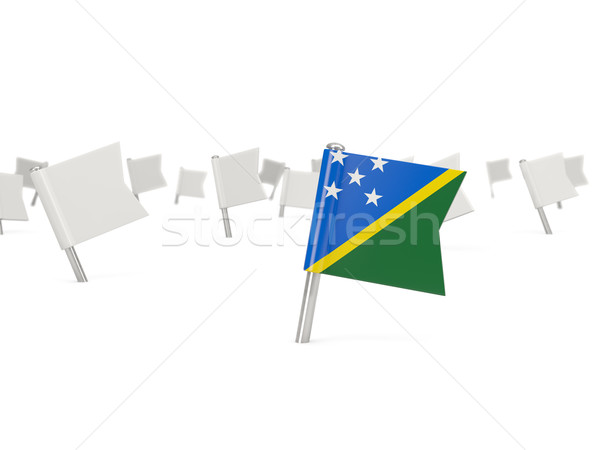 Square pin with flag of solomon islands Stock photo © MikhailMishchenko