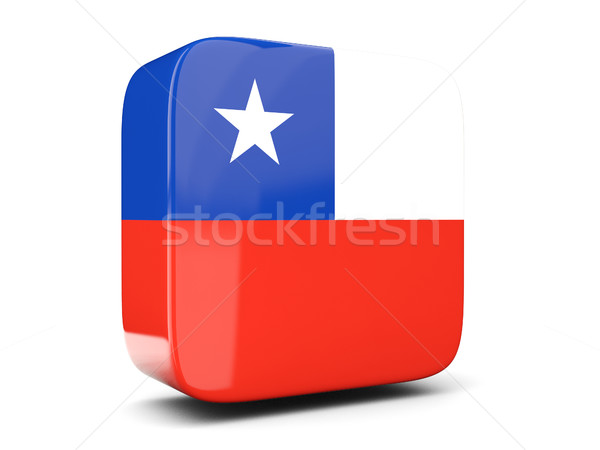 Square icon with flag of chile square. 3D illustration Stock photo © MikhailMishchenko
