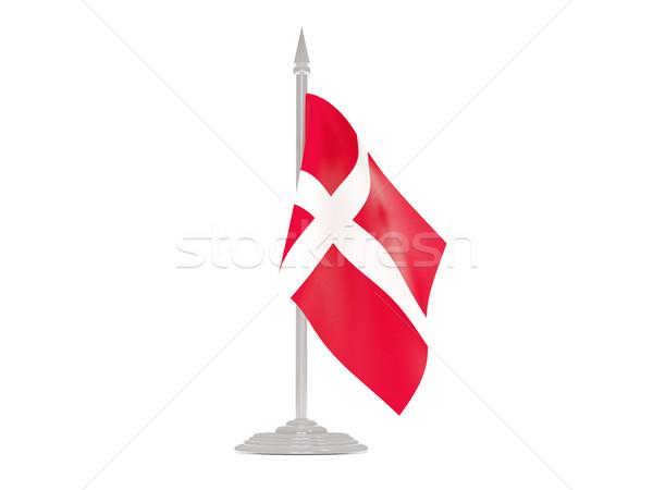 флаг Дания флагшток 3d визуализации изолированный белый Сток-фото © MikhailMishchenko