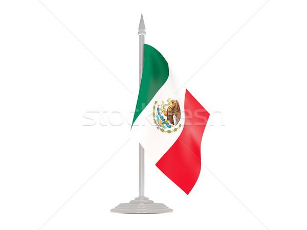 Сток-фото: флаг · Мексика · флагшток · 3d · визуализации · изолированный · белый