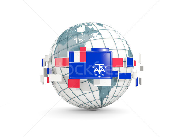Mundo bandera francés meridional aislado blanco Foto stock © MikhailMishchenko