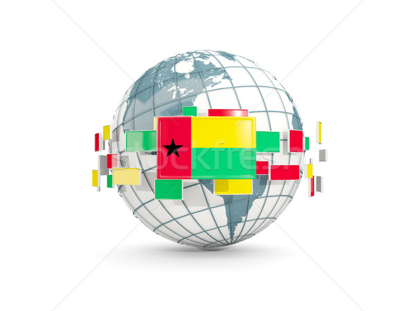 Globe with flag of guinea bissau isolated on white Stock photo © MikhailMishchenko