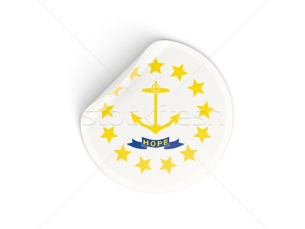 Bayrak ada etiket yalıtılmış beyaz 3d illustration Stok fotoğraf © MikhailMishchenko