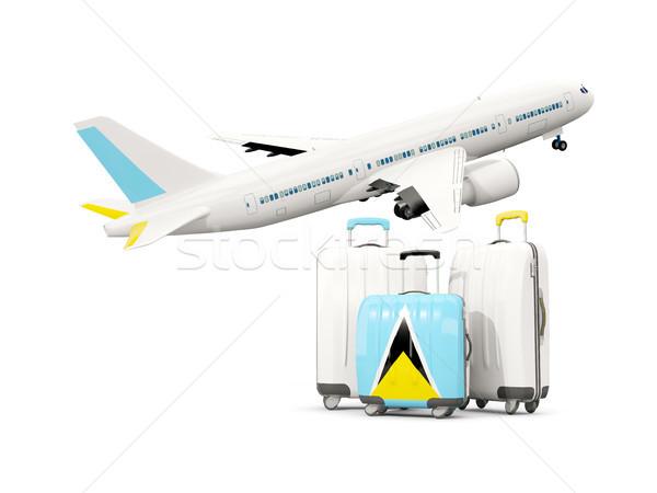 Bagaj bayrak aziz üç çanta uçak Stok fotoğraf © MikhailMishchenko