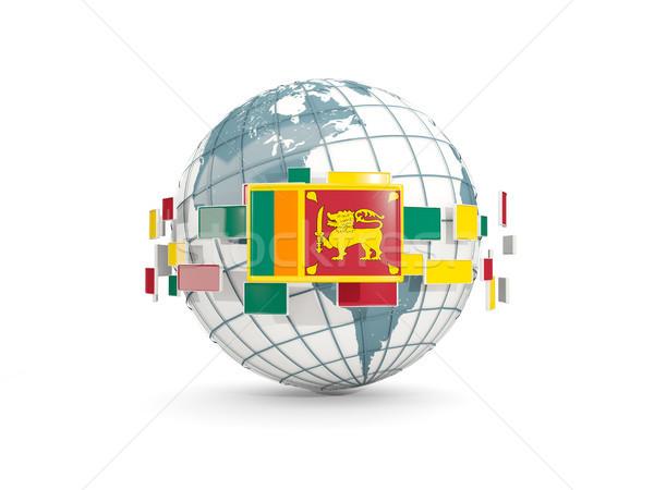 świecie banderą odizolowany biały 3d ilustracji planety Zdjęcia stock © MikhailMishchenko