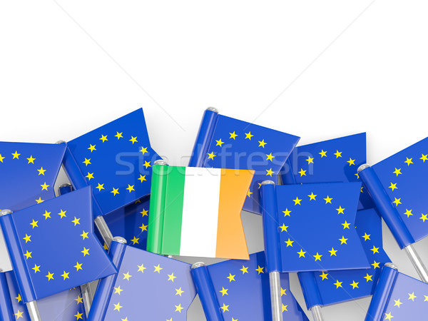 Flag pins of Ireland and EU isolated on white Stock photo © MikhailMishchenko