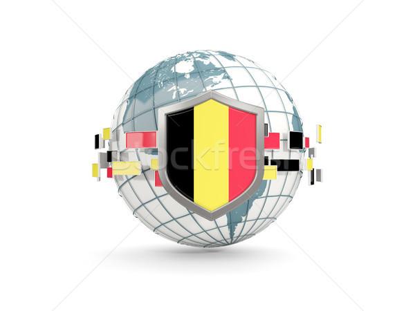 Wereldbol schild vlag België geïsoleerd witte Stockfoto © MikhailMishchenko