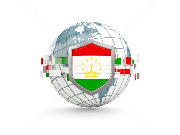 Globe and shield with flag of tajikistan isolated on white Stock photo © MikhailMishchenko