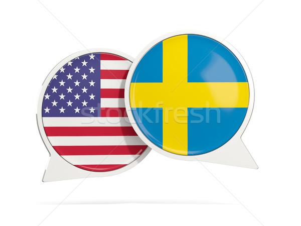 Chat bubbels USA Zweden geïsoleerd witte Stockfoto © MikhailMishchenko