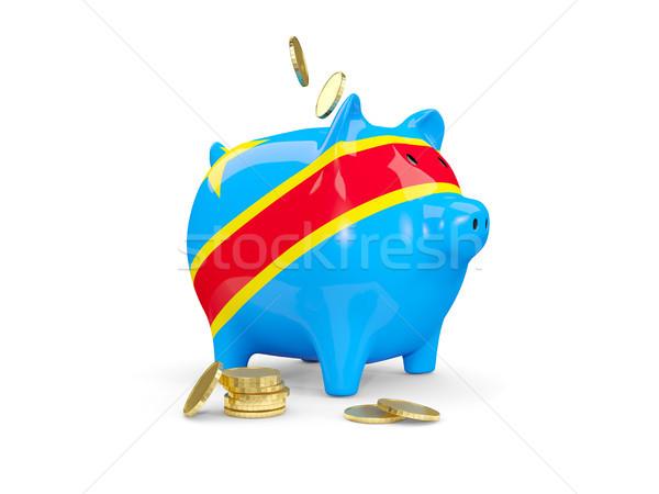 Fat piggy bank with fag of democratic republic of the congo Stock photo © MikhailMishchenko