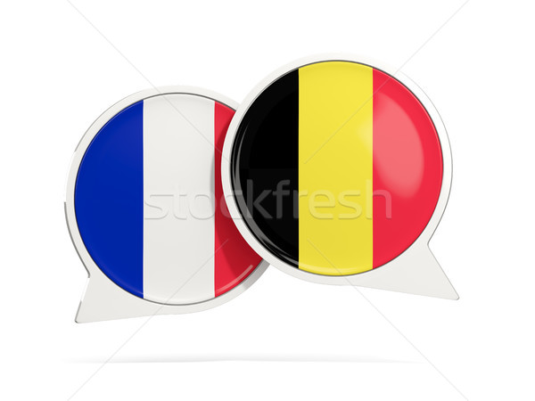 Chat bubbles of France and Belgium isolated on white Stock photo © MikhailMishchenko