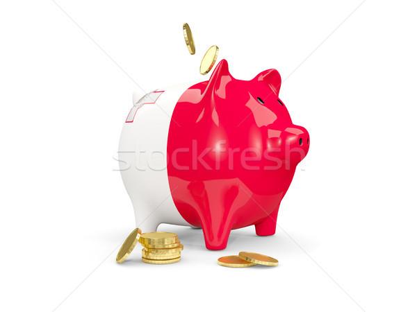 Stockfoto: Vet · spaarvarken · Malta · geld · geïsoleerd · witte
