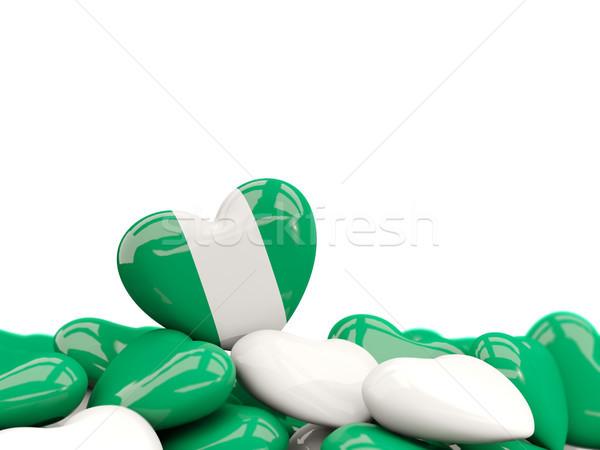 Kalp bayrak Nijerya üst kalpler yalıtılmış Stok fotoğraf © MikhailMishchenko