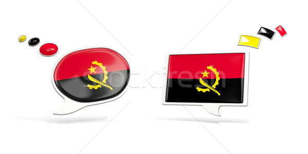 Two chat icons with flag of angola Stock photo © MikhailMishchenko