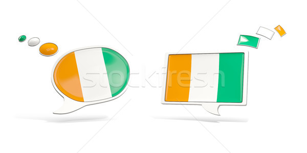 Two chat icons with flag of cote d Ivoire Stock photo © MikhailMishchenko