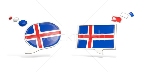 Two chat icons with flag of iceland Stock photo © MikhailMishchenko