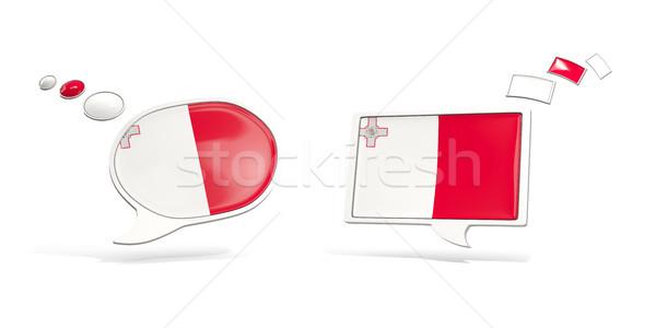 Twee chat iconen vlag Malta vierkante Stockfoto © MikhailMishchenko