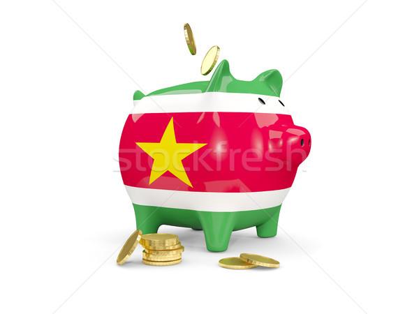 жира Piggy Bank Суринам деньги изолированный белый Сток-фото © MikhailMishchenko