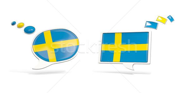 Due chat icone bandiera Svezia piazza Foto d'archivio © MikhailMishchenko