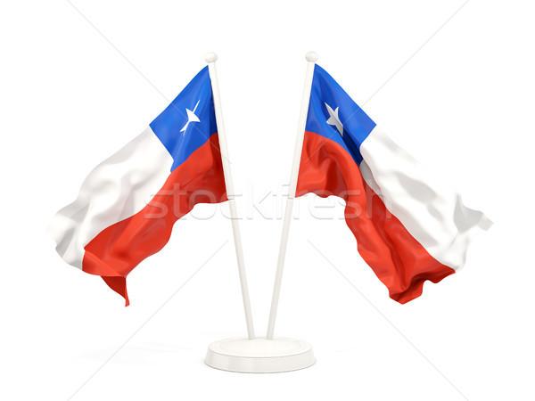 Kettő integet zászlók Chile izolált fehér Stock fotó © MikhailMishchenko