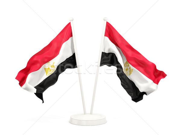 Сток-фото: два · флагами · Египет · изолированный · белый