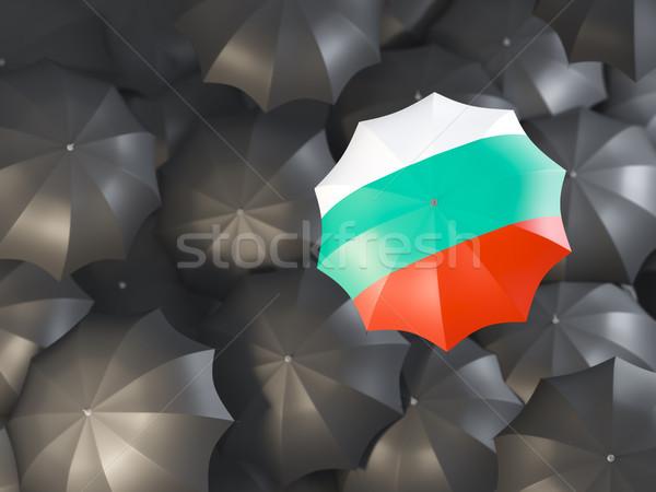 Parasol banderą Bułgaria górę czarny parasole Zdjęcia stock © MikhailMishchenko