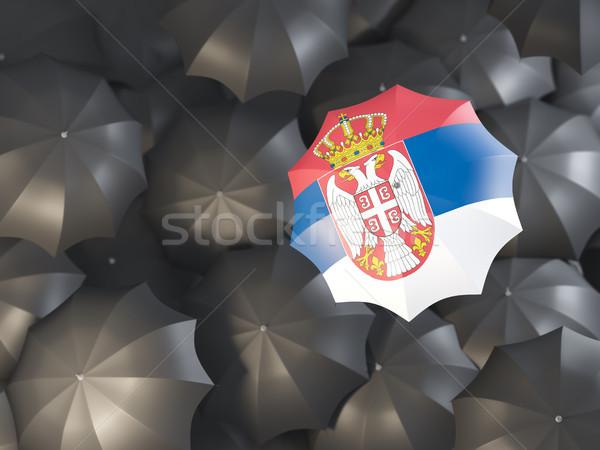 Parapluie pavillon Serbie haut noir parapluies Photo stock © MikhailMishchenko