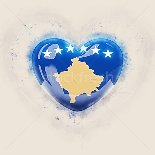 Coração bandeira Kosovo grunge ilustração 3d amor Foto stock © MikhailMishchenko