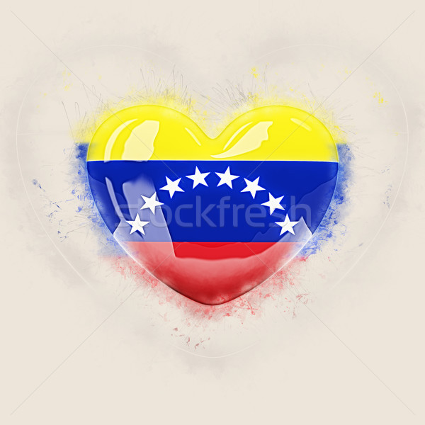 Coração bandeira Venezuela grunge ilustração 3d viajar Foto stock © MikhailMishchenko