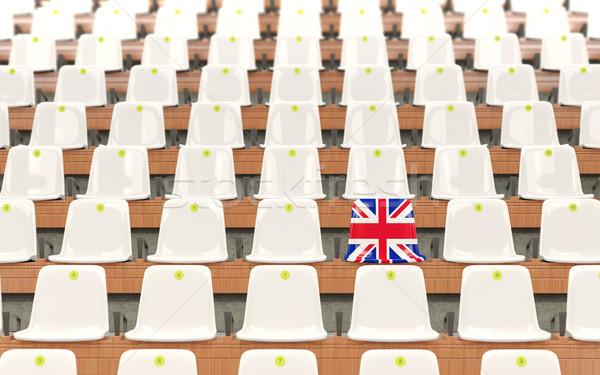 Stade siège pavillon Royaume-Uni rangée blanche Photo stock © MikhailMishchenko