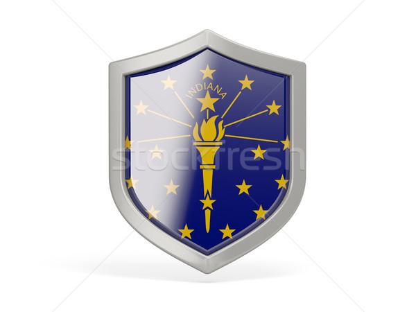 Escudo ícone bandeira Indiana Estados Unidos local Foto stock © MikhailMishchenko