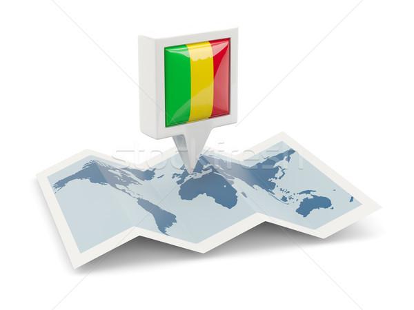 квадратный Pin флаг Мали карта путешествия Сток-фото © MikhailMishchenko