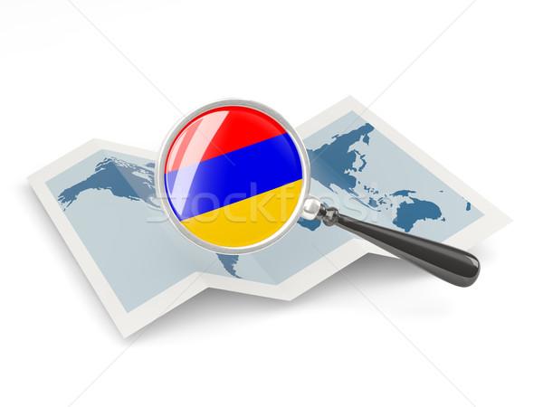 拡大された フラグ アルメニア 地図 白 ストックフォト © MikhailMishchenko