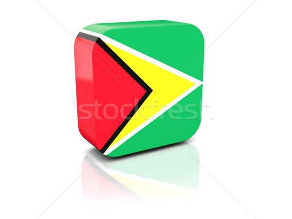 Tér ikon zászló Guyana tükröződés fehér Stock fotó © MikhailMishchenko