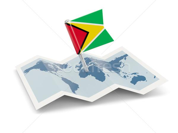 Stok fotoğraf: Harita · bayrak · Guyana · yalıtılmış · beyaz
