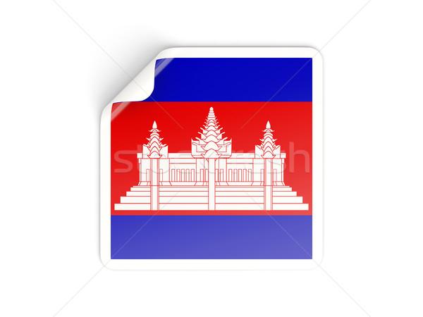 Vierkante sticker vlag Cambodja geïsoleerd witte Stockfoto © MikhailMishchenko
