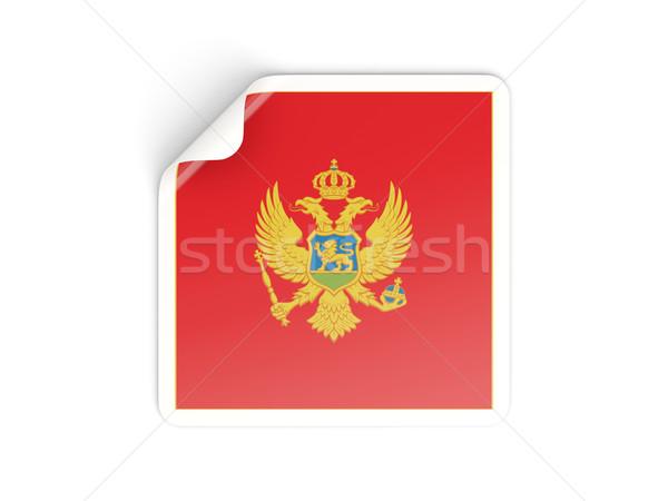 Vierkante sticker vlag Montenegro geïsoleerd witte Stockfoto © MikhailMishchenko