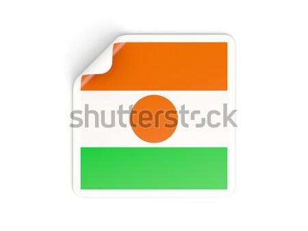 Cuadrados etiqueta bandera Níger aislado blanco Foto stock © MikhailMishchenko