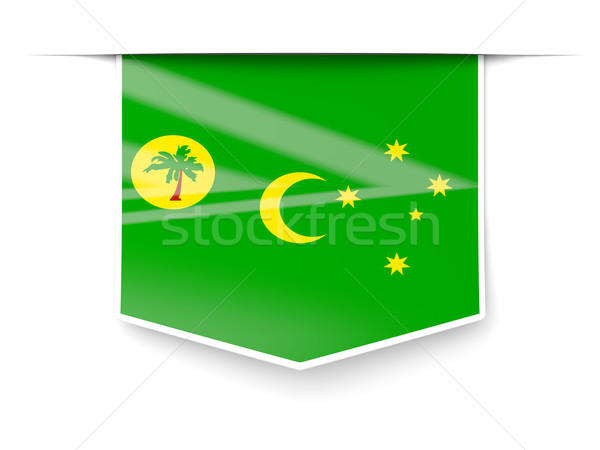 Square label with flag of cocos islands Stock photo © MikhailMishchenko