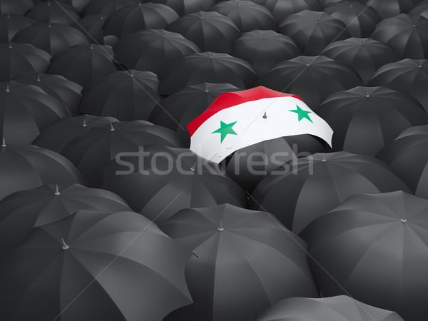Paraplu vlag Syrië zwarte parasols reizen Stockfoto © MikhailMishchenko