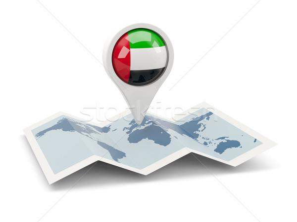Tő zászló Egyesült Arab Emírségek térkép utazás fehér Stock fotó © MikhailMishchenko