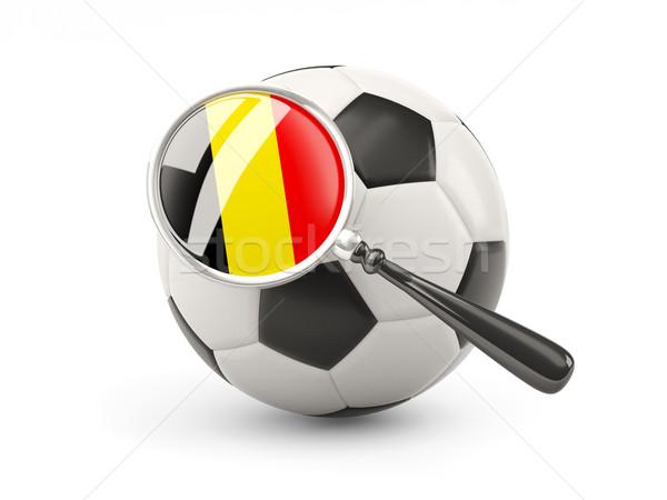 Fútbol ampliada bandera Bélgica aislado blanco Foto stock © MikhailMishchenko