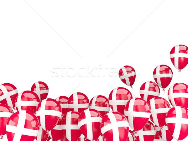 Voador balões bandeira Dinamarca isolado branco Foto stock © MikhailMishchenko