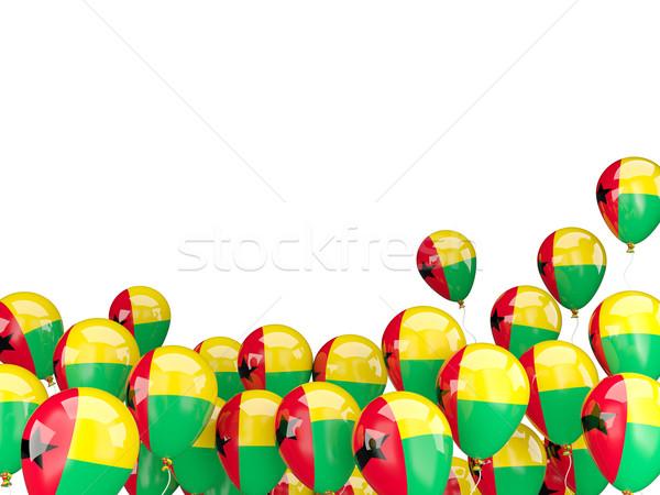 Uçan balonlar bayrak Gine yalıtılmış beyaz Stok fotoğraf © MikhailMishchenko